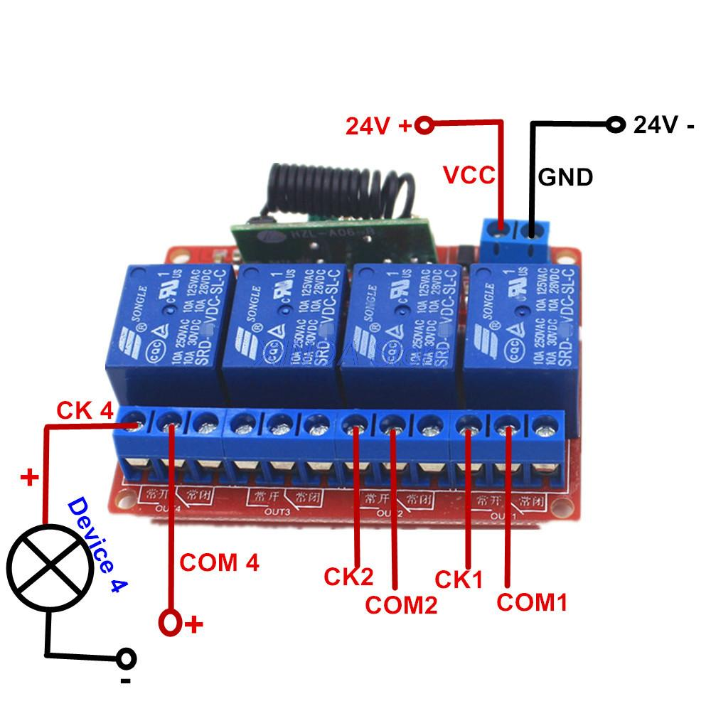 Xind Ele 4 Way 433mhz Remote Control Switch Self Lock 24v Dc Relay Kit Module For Light And Door Rf24 4fm 433 Pm5