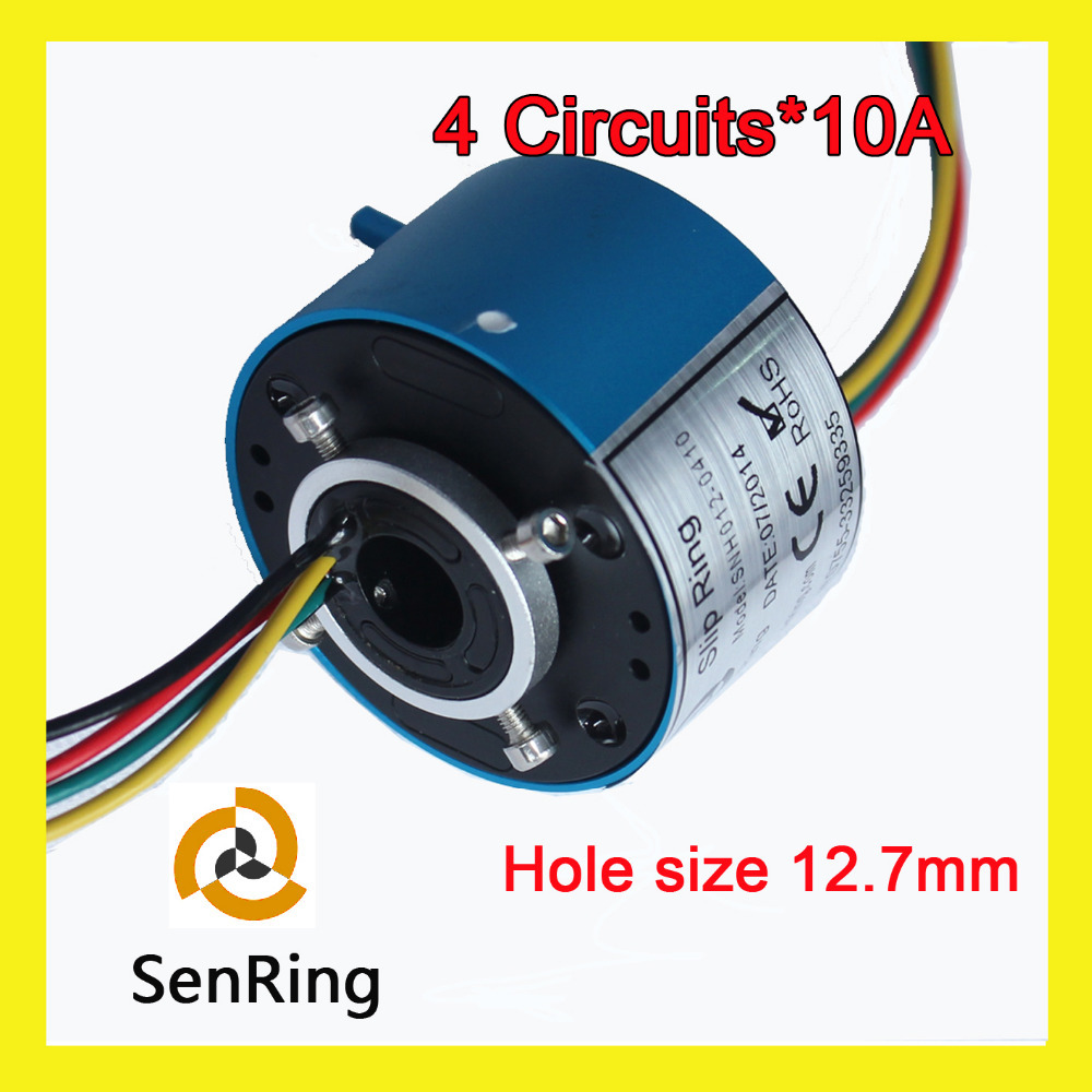 Through bore slip ring SENRING 12.7mm with 4 circuits/wires contact 10A