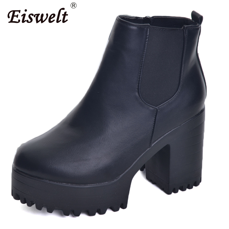 EISWELT 2017 New Women Leather Ankle Boots Platform High Thick Heels Women Fashion Slip On Elastic