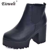 EISWELT 2017 New Women Leather Ankle Boots Platform High Thick Heels Women Fashion Slip On Elastic band Pumps Sexy Shoes#ZQS154