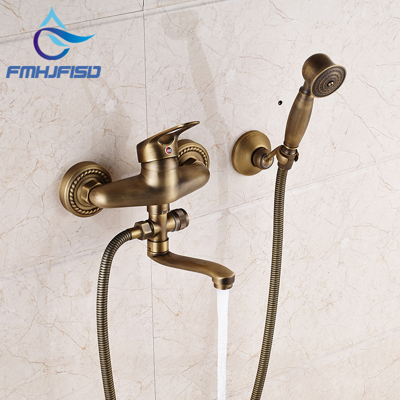 Antique Brass Wall Mounted Bathroom Shower Mixer Faucet W/ Long Tub Spout antique brass telephone style handheld shower head dual handles bath tub mixer tap wall mounted bathroom faucet wtf312