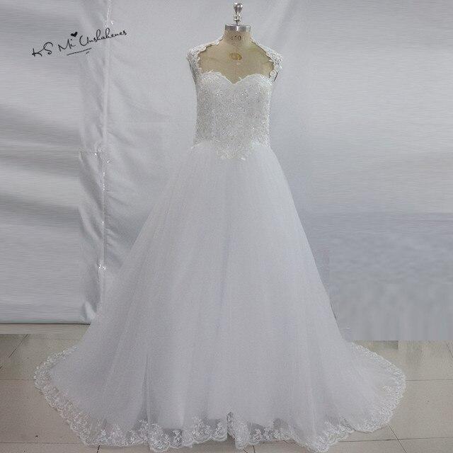 Vestido de Casamento Weiß Spitze Brautkleider Prinzessin ...