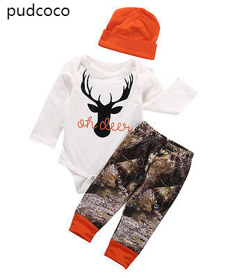 Autumn Kids Baby Boy Girl Deer Christmas Outfits Clothes Long Sleeve Rompers Print Pants Leggings Hat 3pcs Outfits Set Clothes 3pcs baby boy clothing set newborn baby girls clothes i ll eat you up i love you so rompers pants hat toddle outfits