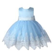 ac0a43e13a Chicas de verano elegante vestido de niña de las flores vestidos para la  primera comunión de Novia de encaje azul traje de la pr.