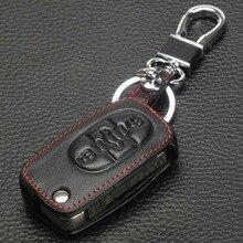Jingyuqin Autosleutelzakje Cover Leather Case Voor Audi A2 A3 A4 A6 A8 Tt Voor Vw Passat Jetta Golf kever 3BTN Flip Folding Beschermen