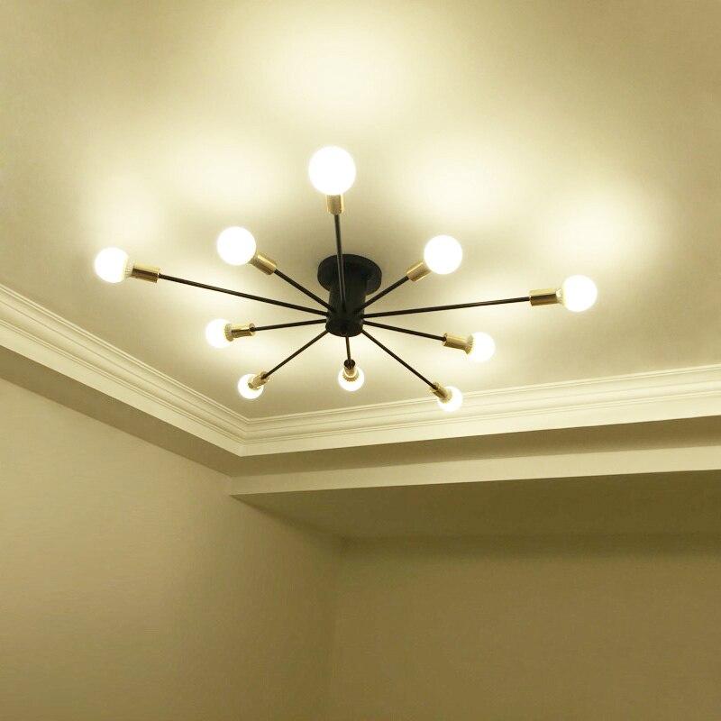 Vintage Ceiling Lights For Living Room Iluminacion Iron Multiple Rod Ceiling Lamp Luminaria E27 Bulb Home Lighting Fixtures