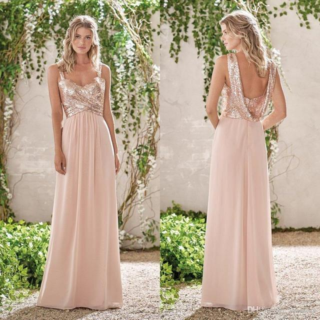 853fdc81dc84 Sparkly Sequined Beaded Chiffon Bridesmaid Dresses Cheap Long Spaghetti  Pleated Wedding Guest Dress Maid of Honor Gowns
