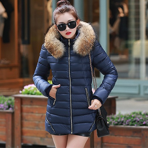 2016 winter slim medium-long fur collar women thickening down cotton-padded jacket plus size Office casual Coat Cheap wholesale цены онлайн