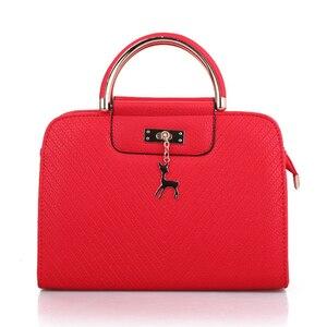 Image 2 - Fashion Handbag 2020 New Women Leather Bag Large Capacity Shoulder Bags Casual Tote Simple Top handle Hand Bags Deer Decor
