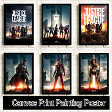 Superman Wonder Woman flash Batman Movie Reying Painting posters Home Decor Art Decor canvas painting No Frame K54(China)