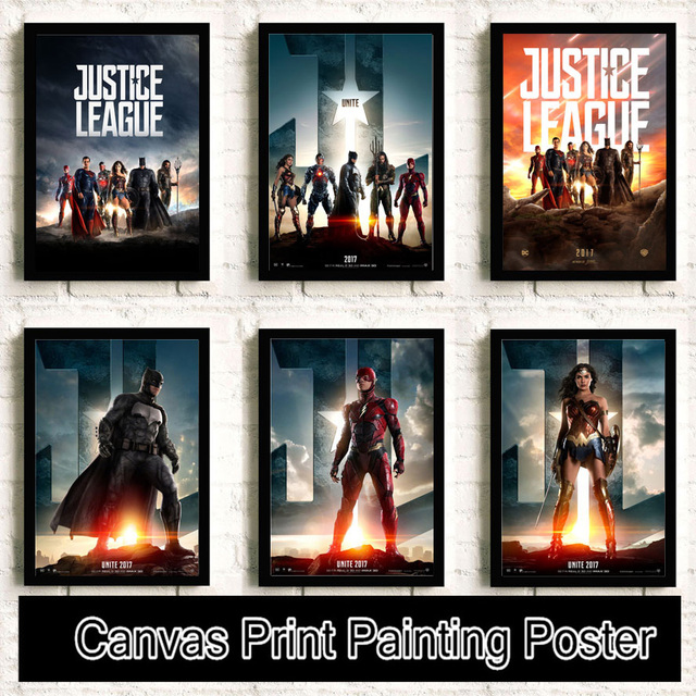 Superman Wonder Woman flash Batman Movie Reying Painting posters Home Decor Art Decor  canvas painting No Frame K54