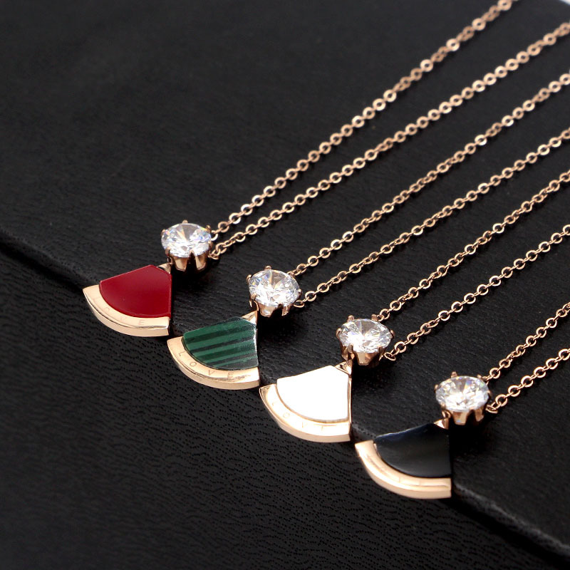Stainless steel necklace chain short jewelry rose gold color single necklace pendant for woman Y03