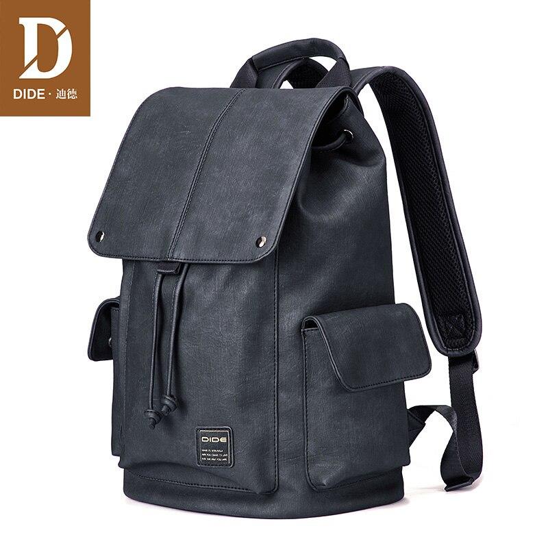DIDE カバー防水バックパック男性 14 15 インチノートパソコンのバックパック男性スクールバッグ Shrot またはロング旅行バックパック pu レザーバッグ  グループ上の スーツケース & バッグ からの バックパック の中 1