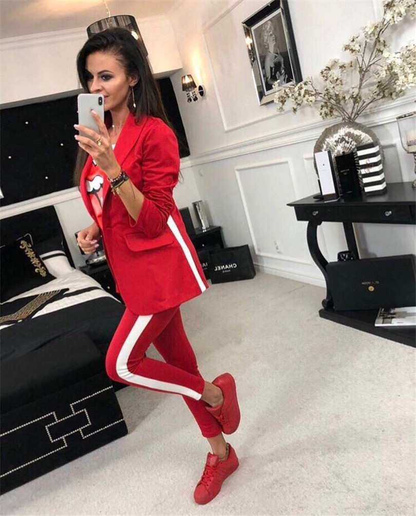 2018 Autumn women fashion Suits Set Formal Suit jacket And Full Pants Two Piece Women Suits Side Striped Slim Women Trench