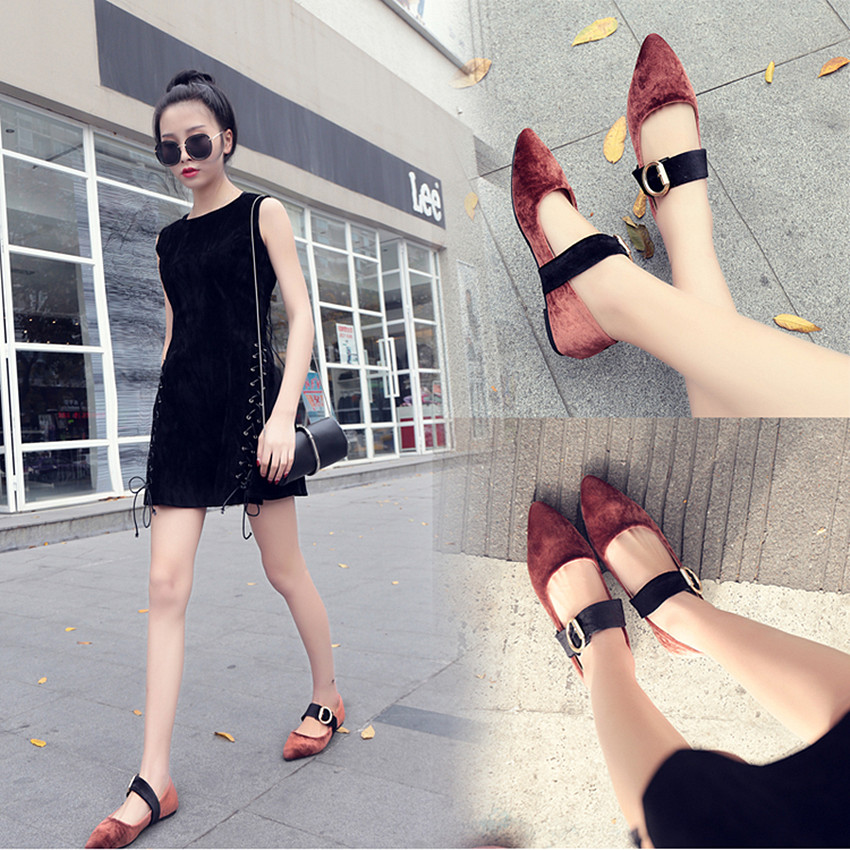 2017 Spring Summer Flat Heel Shoes Lady New Velvet Pointed Toe Flats Heel Shoes Women Vintage