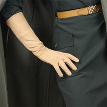 40 سنتيمتر جلد الغزال مقطع طويل قفازات عارية اللون البيج البني الفاتح جلد الغزال محاكاة جلد الغنم الدافئة الإناث WJP03 40