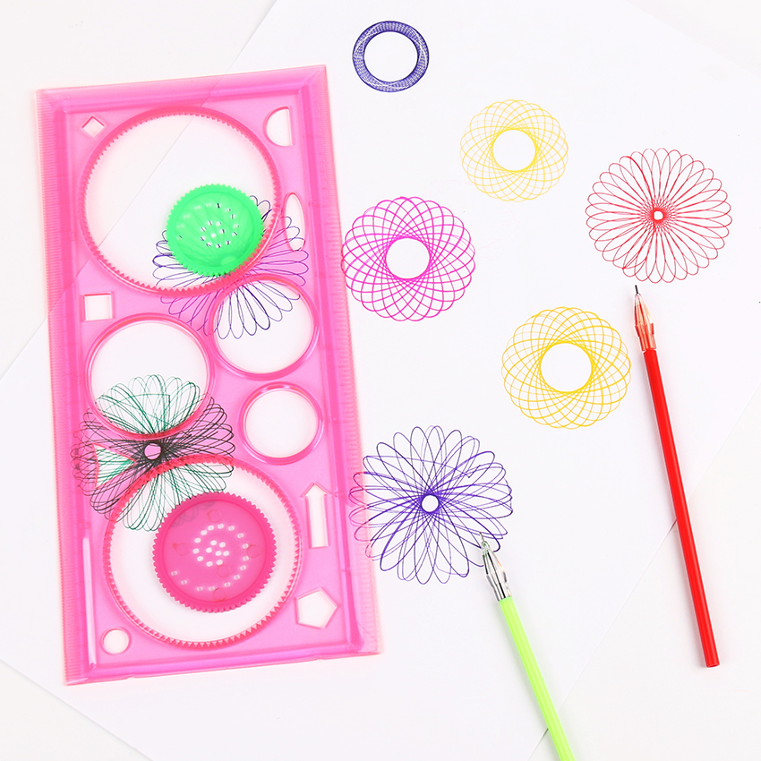 2 PCS Spirograph Multifunctional Geometric Ruler Drafting Tools Stationery Students Office Supplies