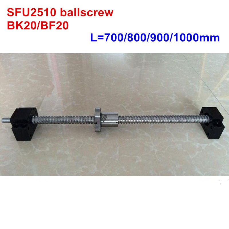 SFU2510 700 800 900 1000mm ballscrew + BK20/BF20 CNC partsSFU2510 700 800 900 1000mm ballscrew + BK20/BF20 CNC parts