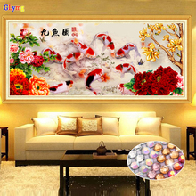 GLymg 5D Diy Diamond Painting Cross Stitch Nine Fish Picture Bright Rhinestone Crystal Drill Peony Embroidery Home Decor