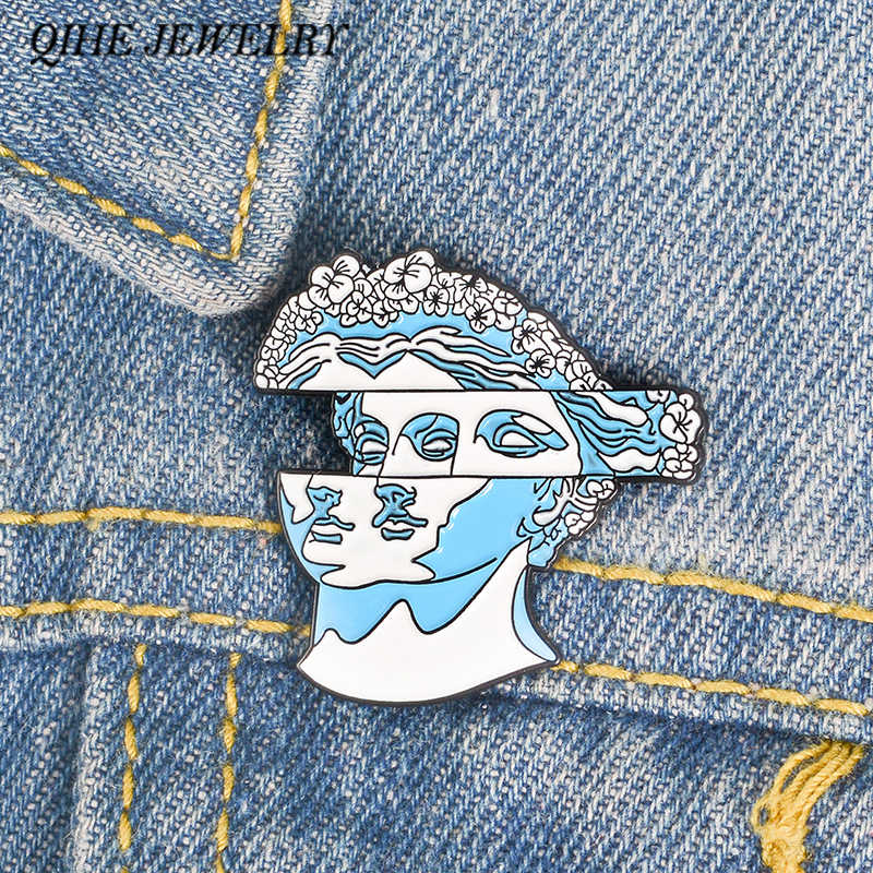QIHE JEWELRY Blue Flower Hair Statue Enamel pin Classic brooches Lapel pins for women girl men Badges Pins up