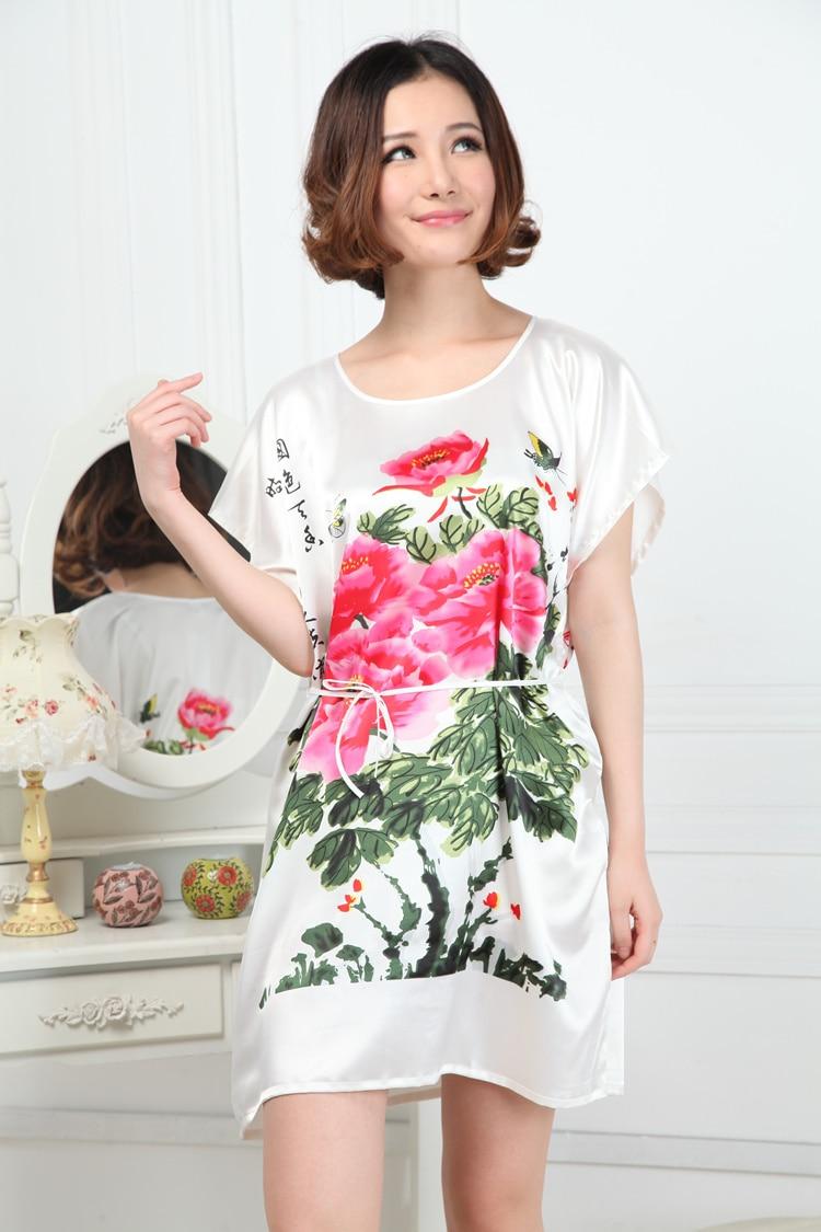 Women Casual Nightgown Print Flower Patterns Cute Girls Sleepwear ...