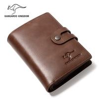 KANGAROO KINGDOM vintage luxury brand men wallets genuine leather hasp zipper credit card holder purse wallet