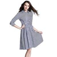 Fashion Navy Stripes Lapel Three Quarter Sleeves Cross Knotting Belt Thin Waist Women S Shirt Style