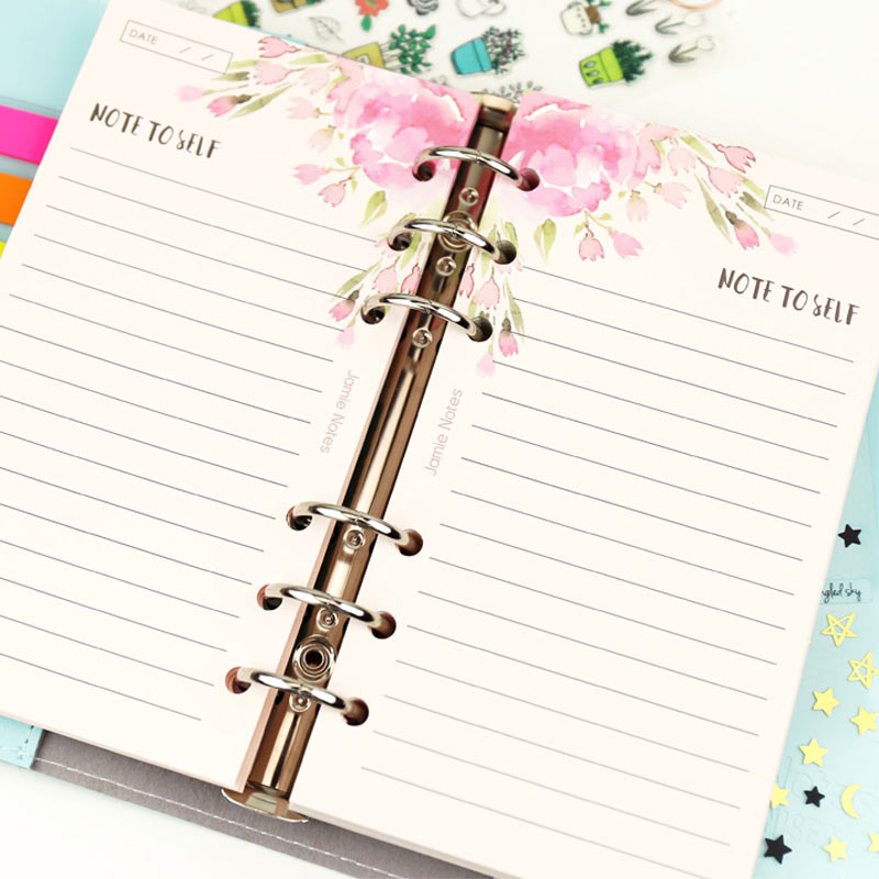 Yiwi 6 Holes  40 Sheets Pink Note Cute Kawai Colorful Loose Leaf Spiral Notebook Refill Inner Page Daily  Notepad