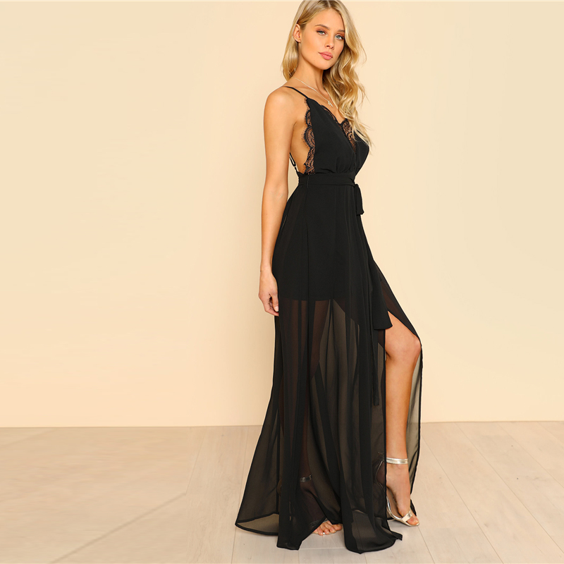 COLROVIE Black Backless Lace Plunge V Neck Slit Summer Dress 2018 New Strap Sexy Maxi Dress Elegant Evening Party Dress 6