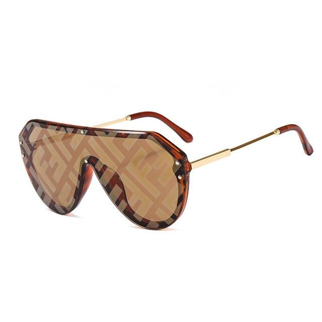 Brand F Watermark One-piece Sunglasses Women Men 2019 Female Personality Colorful Fashion Wild Sun Glasses