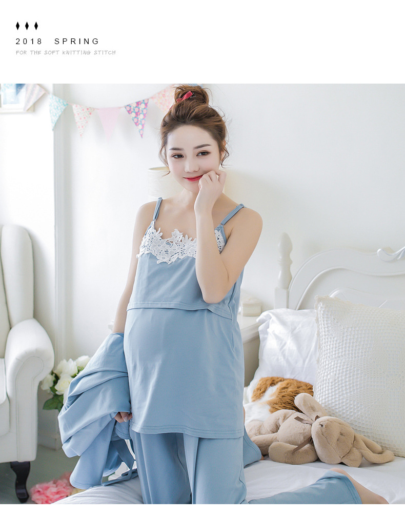 Lace 3 Pieces Maternity Clothes Maternity Sleepwear Breastfeeding ...