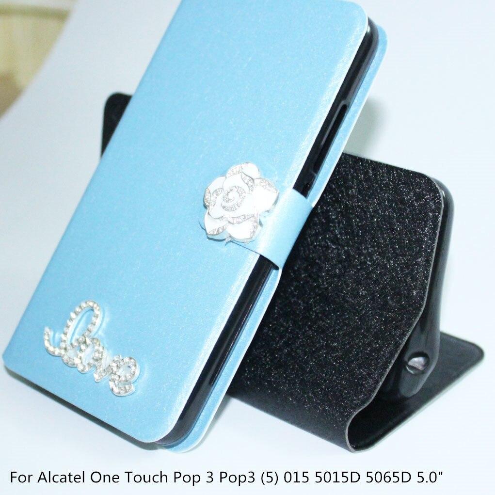 Роскошные Флип магнитного искусственная кожа Чехол для телефона для <font><b>Alcatel</b></font> One Touch POP 3 Pop3 (5) 015 5015D 5065D Обложка сумка с алмазной пряжкой