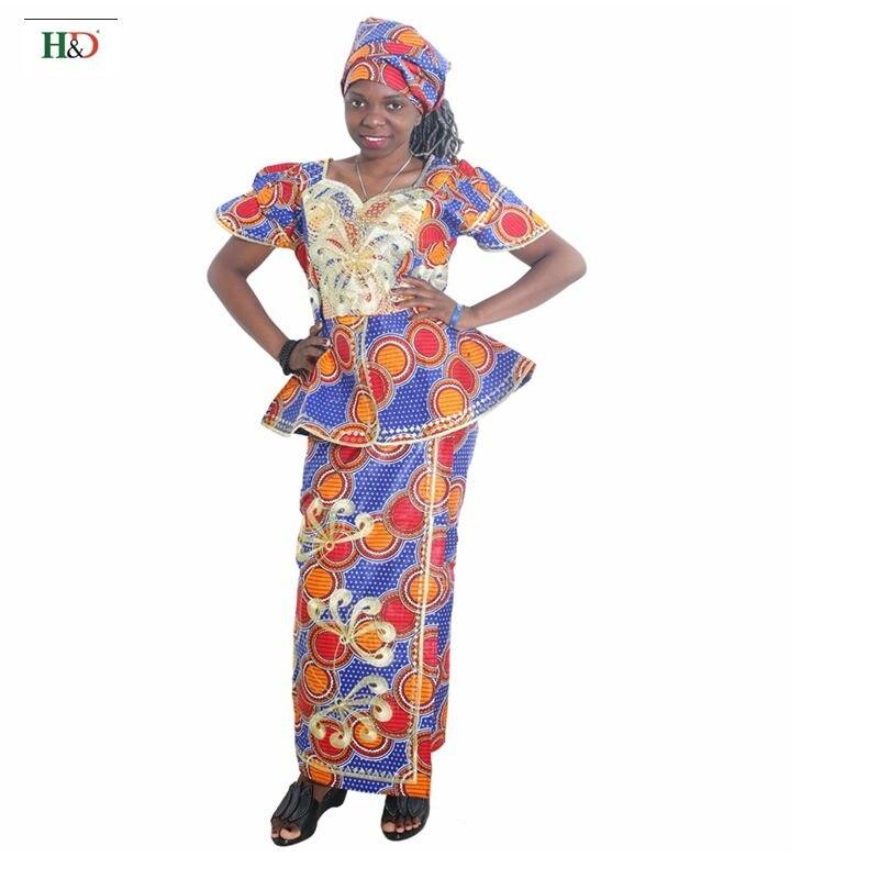 ca7e1fe4e H   D 2018 roupas para as mulheres Tradicional africano riche bazin Bordado  africano dashiki vestidos para mulheres cera de algodão tops saias em Roupas  ...