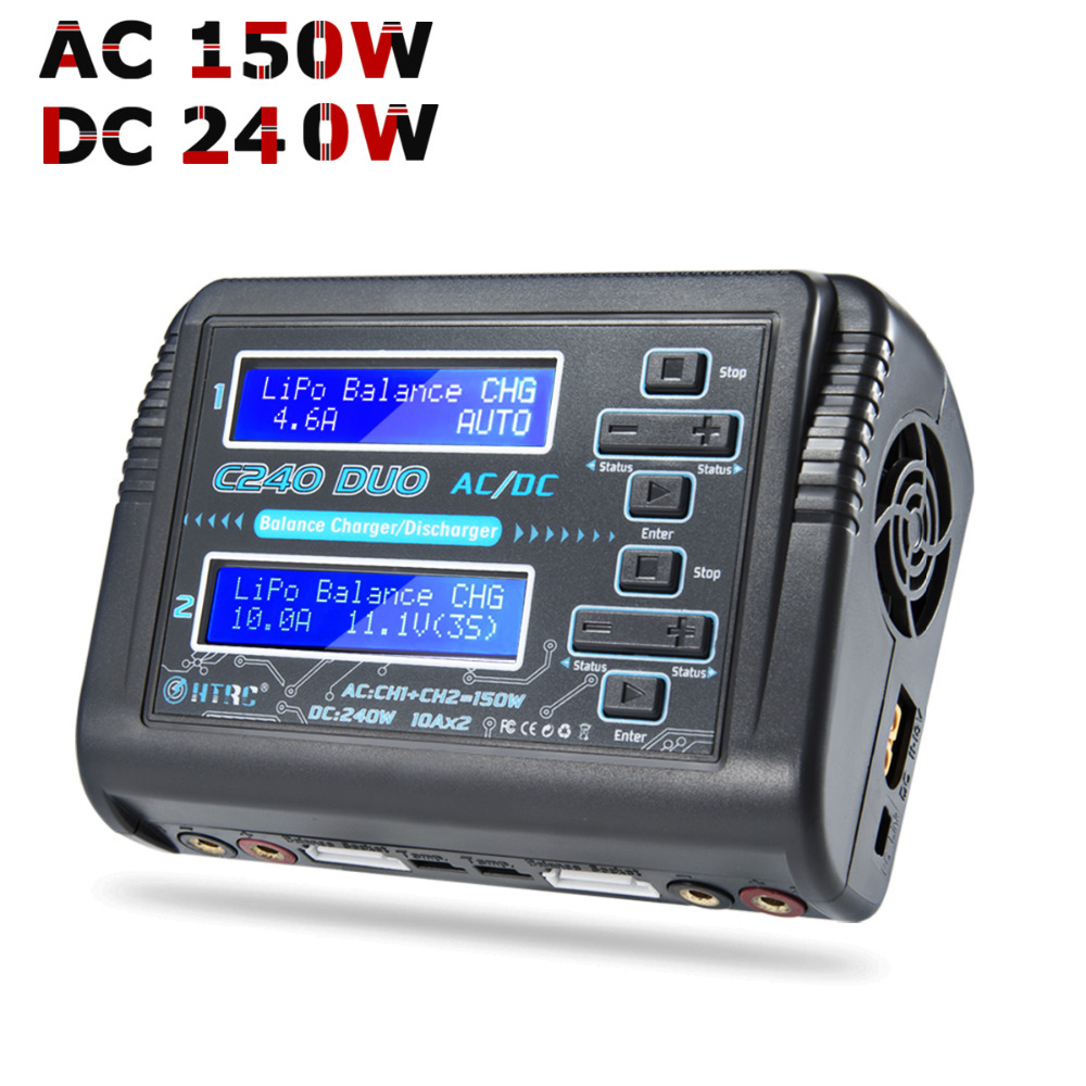 RC LiPo Charger HTRC C240 DUO AC/150W DC/240W Dual Channel 10A Balance Discharger for LiPo LiHV LiFe Lilon NiCd NiMh Pb Battery skyrc b6 nano lipo battery charger discharger 15a 320w dc 9 32v mini charge for life lilon lipo lihv nimh nicd pb battery