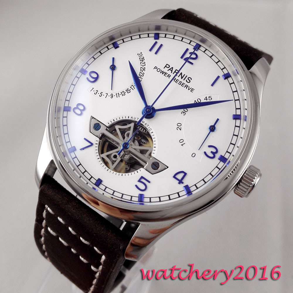 43mm parnis white Dial Blue Marks Leather Power reserve Auto Date watches top brand luxury Automatic Movement mens Wristwatches43mm parnis white Dial Blue Marks Leather Power reserve Auto Date watches top brand luxury Automatic Movement mens Wristwatches