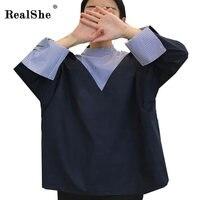 RealShe 2017 T Shirt Women Tops Korean Style Loose Stripped Tee Shirt Femme T Shirt Casual