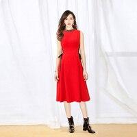 New Celebrity Inspired Women's Dresses 2019 Summer Party Events Lady Diamond Beading Cross String Sleeveless Red Black Dress OL