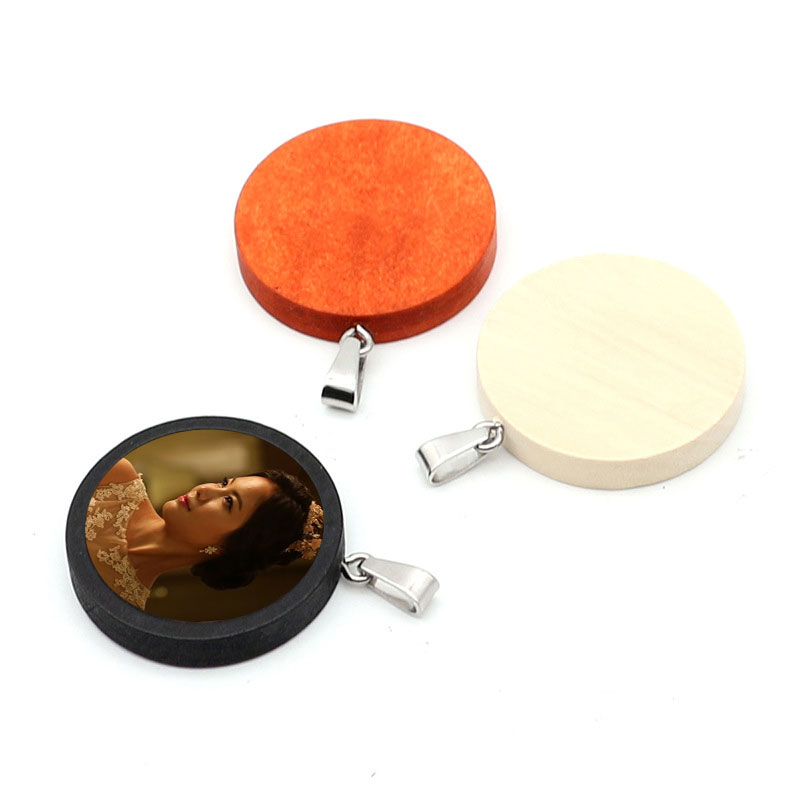sublimation blank wooden pendant jewelry hot transfer printing diy consumables 50pieces lot new style