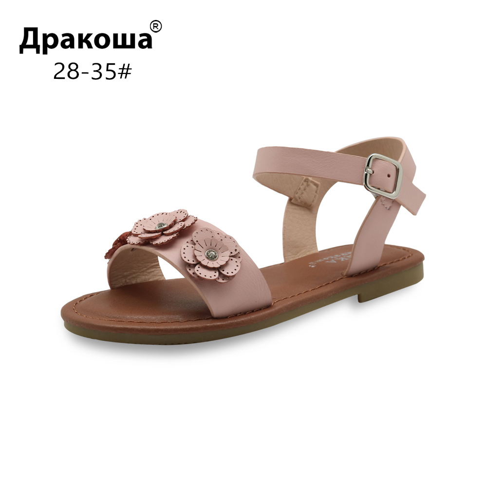 Apakowa Eur 28-35 Children's Shoes For Girls Summer Classical Girls Flat Sandals With Flowers For Beach Party Open Toe Footwear