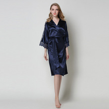 New Spring Women Luxury Robe Top Grade Silk Bath Sexy Lace Sleepwear Nightwear Knee-Length Kimono Elegant Dressing Gown