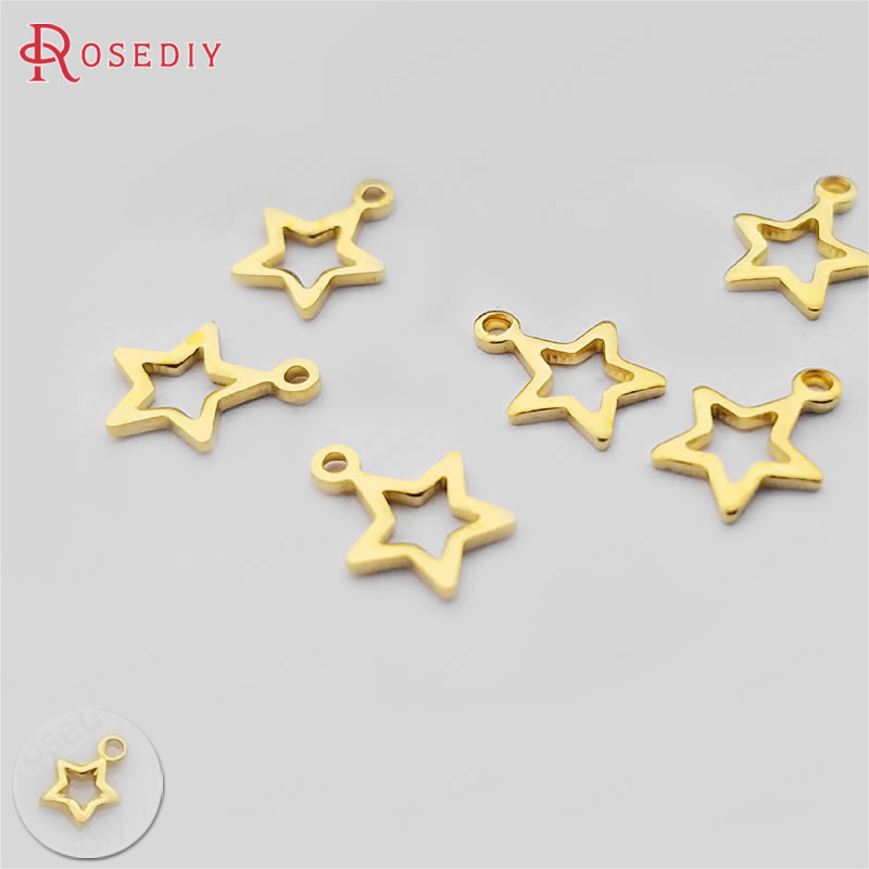 (30401)200PCS 4MM 6MM Not plated color Brass Small Star Charms Diy Jewelry Findings Accessories Wholesale