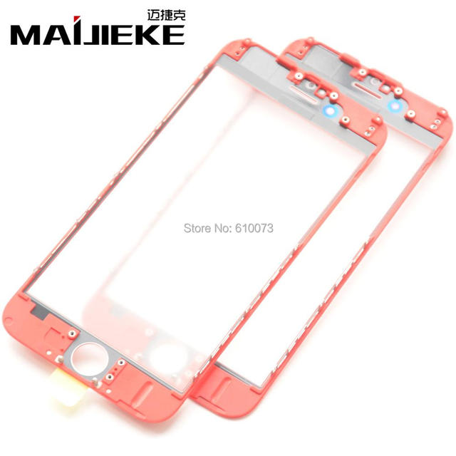 MAIJIEKE 2 in 1 Cold Press Screen Front Glass Lens with Middle Frame Replacement for iPhone 7 6 6s plus Screen Touch Panel