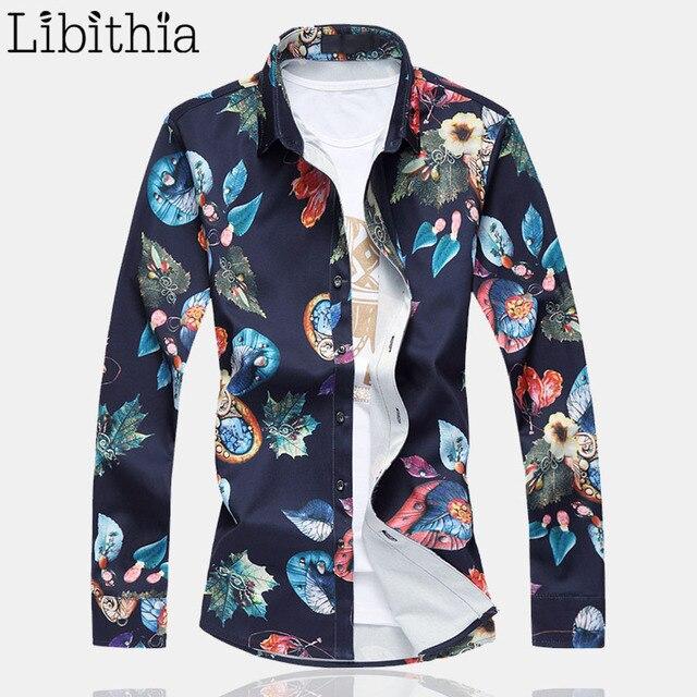 89842ebef94796 Męskie kolorowe wzór sukienka koszule grube koszule męskie z długim rękawem  Plus rozmiar 6XL 7XL mężczyźni