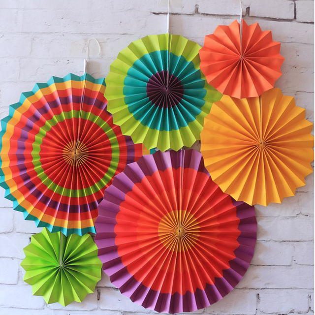6 Pieces Beautiful Hangings Colorful Paper Fan For Birthday Party ...