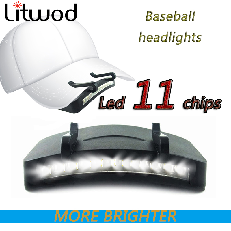 Fishing Head Lamp Flashlight Cap Led Light Hat Headlamp Bulbs Litwod Aaa Clip On Super Right 11 High/low