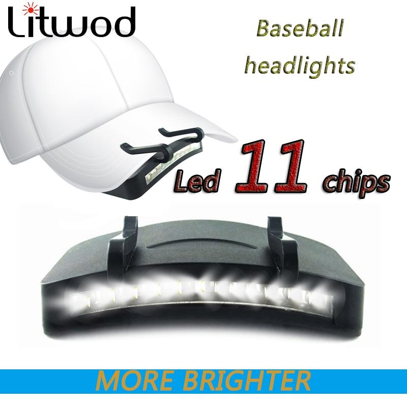 Fishing Head Lamp Flashlight Cap Led Light Hat Headlamp Bulbs Litwod Aaa Clip On Super Right 11 High/low