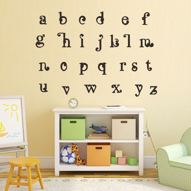 Us 4 13 12 Off 24 Alphabet Vinyl Wall Stickers Education A B C Decals For Kids Room Nursery Decor In From Home Garden