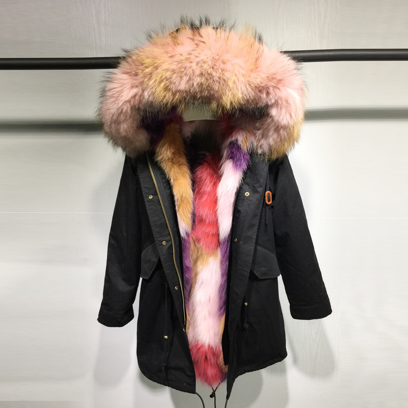 Winter Jacket Women Army Green long Parka Coats Real Large Raccoon Fur Collar  Multicolor Patch  Fox Fur Lining Hooded Outwear kohuijoos 3xl winter women army green large raccoon fur collar hooded coat warm detachable natural fox fur lining parka coats