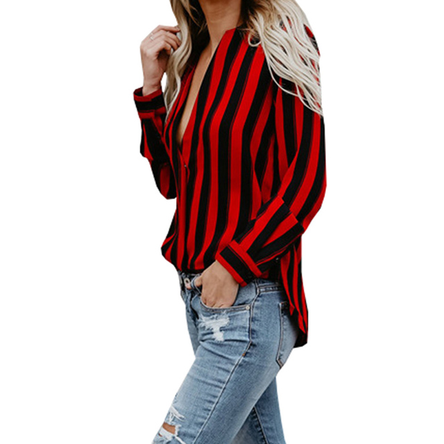 adf16e75b7266e Black And Red Striped Shirts For Women Casual Long Sleeve Spring Summer  Autumn Shirt Deep V-Neck OL Blouse Lady Office Shirt