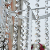Free shipping 33 FT Crystal Clear Acrylic Bead Garland Chandelier Hanging Wedding Decoration